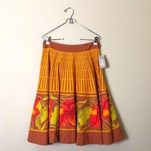 Anthropologie Odille Floral Orange Circle Skirt